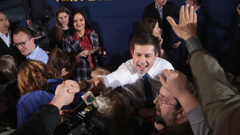 Pete Buttigieg greeted supporters at his campaign launch