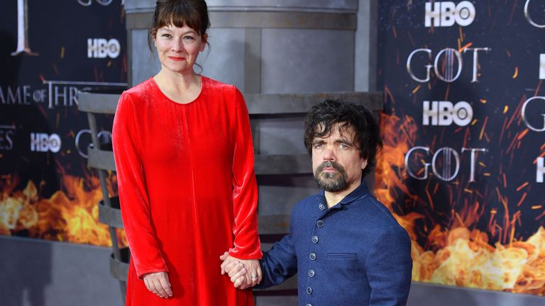 Peter Dinklage, who plays Tyrion Lannister, with his wife