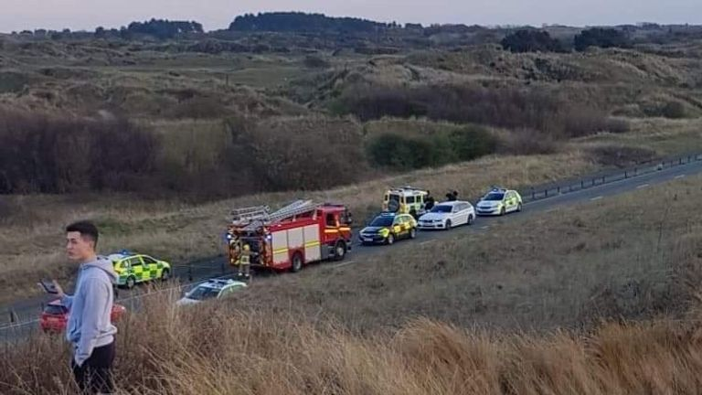 A plane has crashed near Southport. Pic: OTS NEWS.co.uk