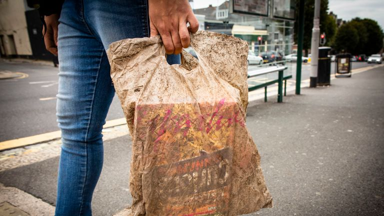University of Plymouth of a plastic bag tested as part of a study of plastic bag materials
