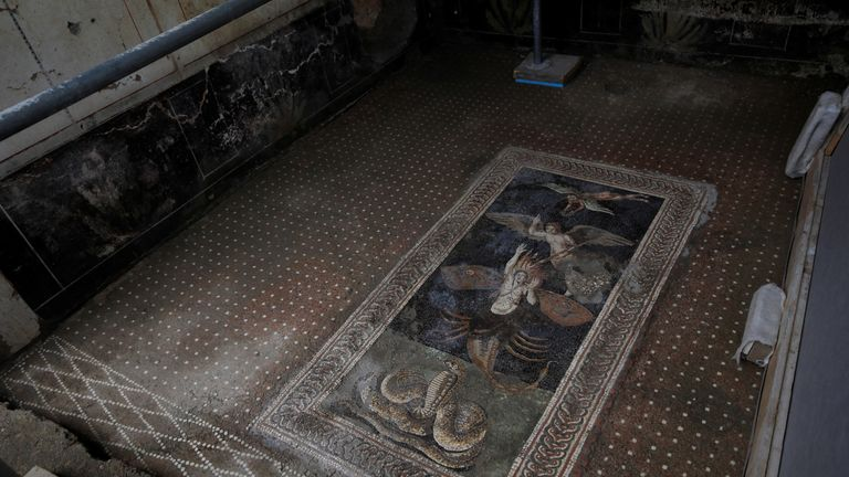 A mosaic in the Domus of Zeus in Regio V of the ancient archaeological site of Pompeii