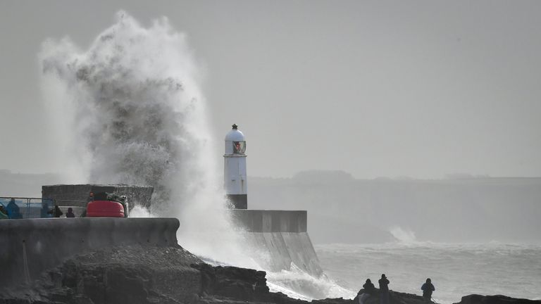 Large waves formed at Porthcawl, Wales, when Storm Gareth hit the UK last month
