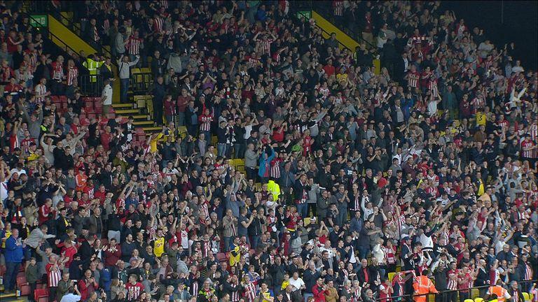 The crowd reacts as Southampton's Shane Long scores fastest ever Premier League goal