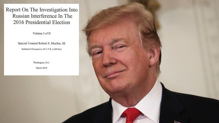 President Donald Trump and front page of Mueller report