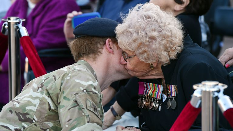 Prince Harry met Daphne Dunne for the first time in 2015 where she stole a kiss from the Duke