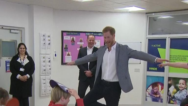 Prince Harry joins a ballet class in west London.