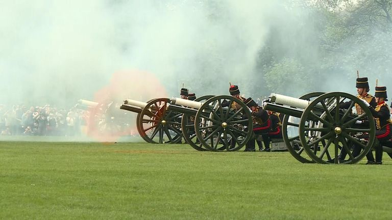A 41-gun salute by The King's Troop Royal Horse Artillery to celebrate the Queen's 93rd birthday.