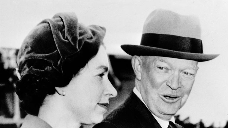The Queen greeted by President Eisenhower in the US during her visit there