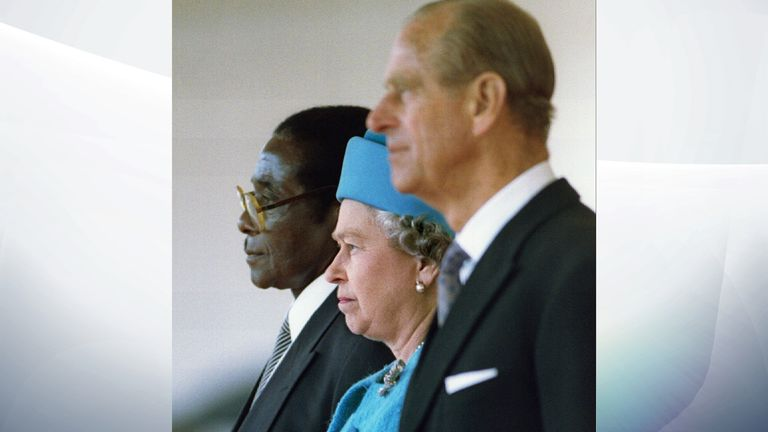 Robert Mugabe with the Queen and Philip