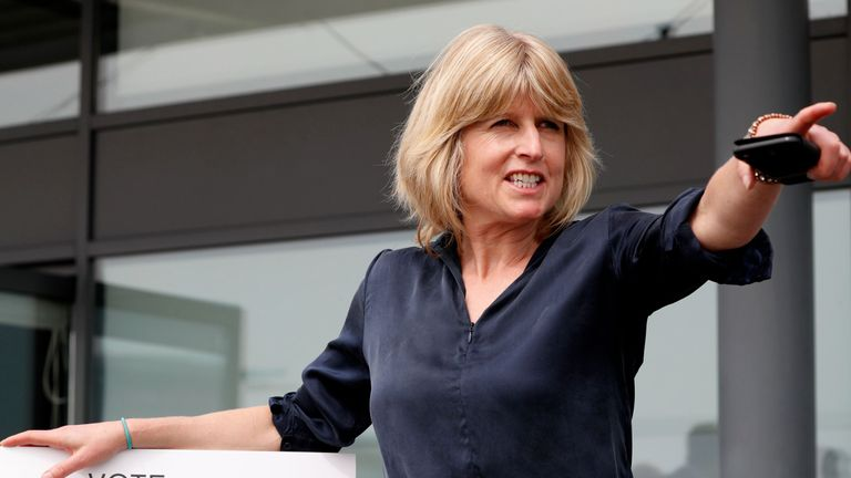 Rachel Johnson, candidate for the new pro-EU political party, Change UK poses after the launch of their European election campaign in Bristol on April 23, 2019. (Photo by Adrian DENNIS / AFP)        (Photo credit should read ADRIAN DENNIS/AFP/Getty Images)