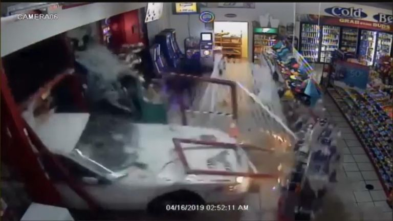 Vehicles ram shop during ATM robbery attempt
