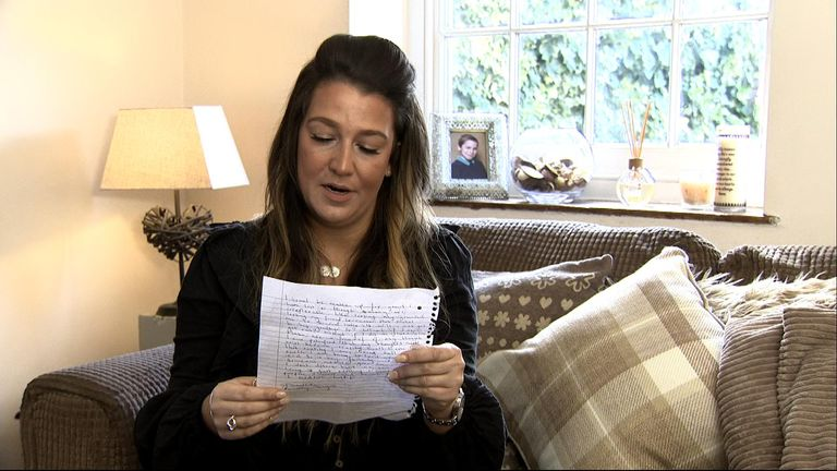 Ricky Sayers sent Sky News a letter, through his sister Louise, setting out his sense of desperation
