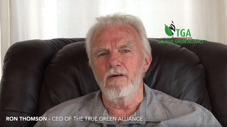 Ron Thomson has defended killing 5,000 elephants. Pic: The True Green Alliance/YouTube