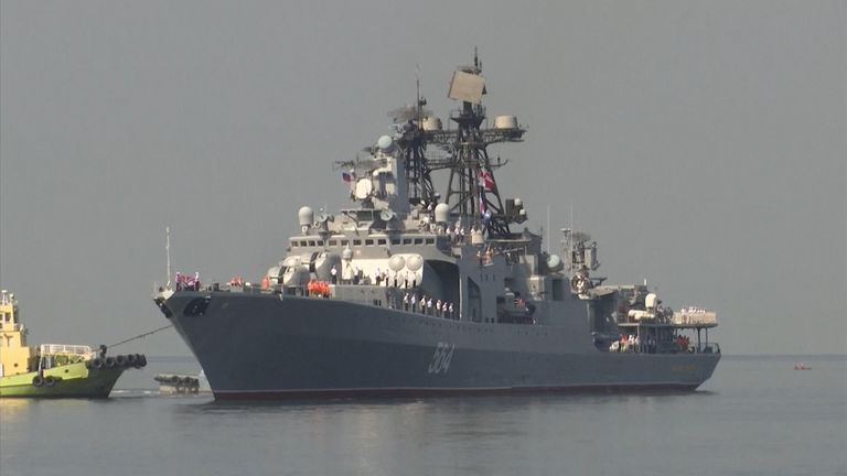 "Three Russian ships docked in the Philippines on Sunday for what has been described as a ""goodwill visit"", amid recent increasing tension over the South China Sea."