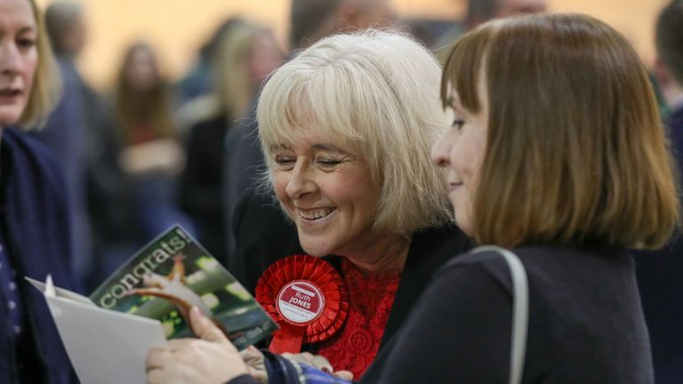 Welsh Labour candidate Ruth Jones (left) awaits the results of the Newport West by-election at the Geraint Thomas National Velodrome of Wales in Newport.