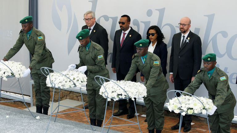 Belgium's Charles Michel, Ethiopia's Abiy Ahmed and Jean-Claude Juncker attend a wreath laying ceremony