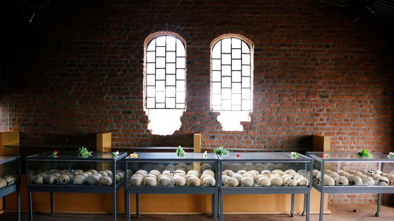 Sculls of victims of the Rwandan genocide on display inside the church where they were killed