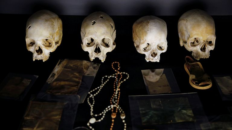 Sculls and personal items of victims of the Rwandan genocide