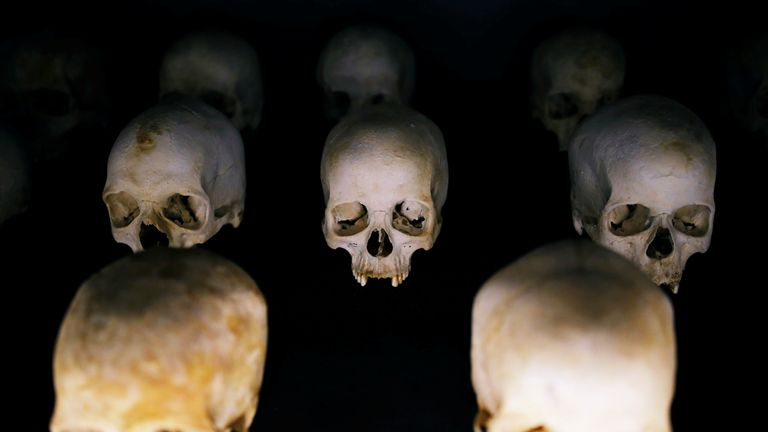 Sculls of victims of the Rwandan genocide are seen as part of a display at the Genocide Memorial in Gisozi