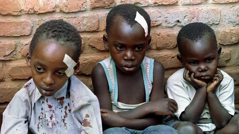 Rwandan orphans caught up in the violence when their orphanage was hit by shelling