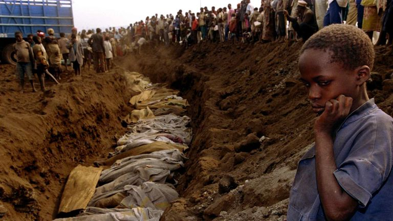 A mass grave where dozens of bodies were laid to rest on 20 July 1994