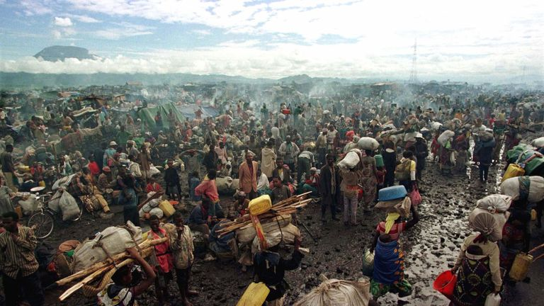 Rwandan Hutu refugees at a camp near Goma in the former Zaire, now the Democratic Republic of the Congo in 1996