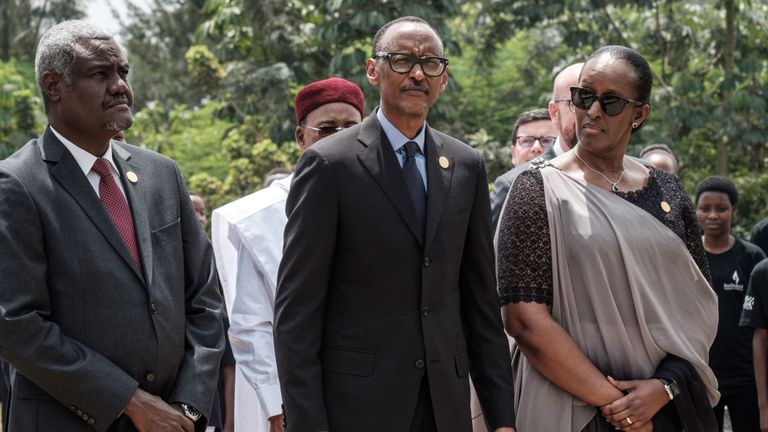 Rwandan President Paul Kagame (C), and his wife Jeannette at a commemoration of the 1994 genocide in the capital Kigali
