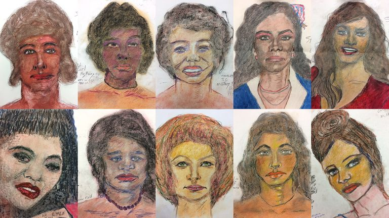 The victims drawn by Samuel Little. Pic: FBI