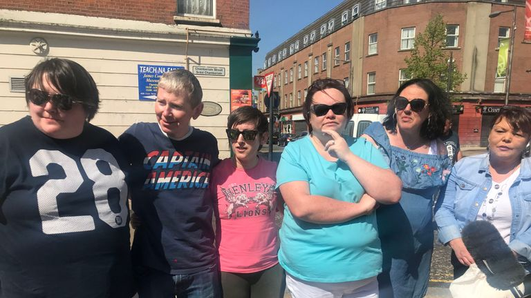 Friends of murdered journalist Lyra McKee who took part in a protest outside Junior McDaid House in Derry
