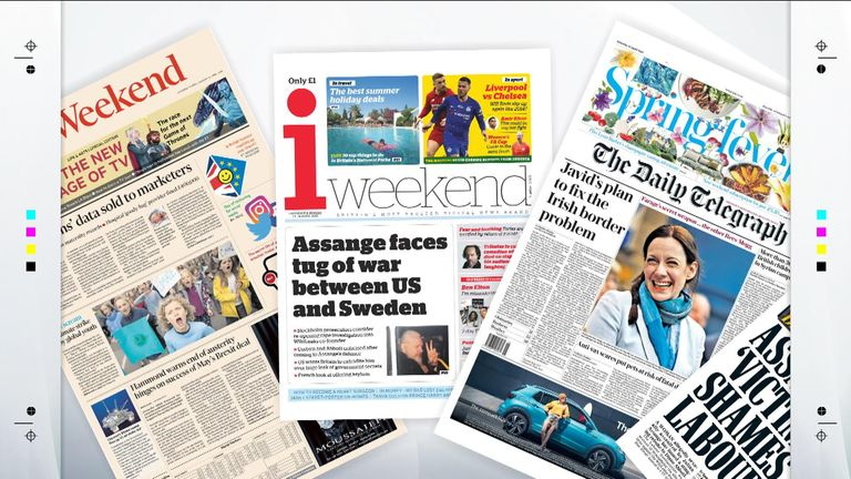 Saturday's national newspaper front pages