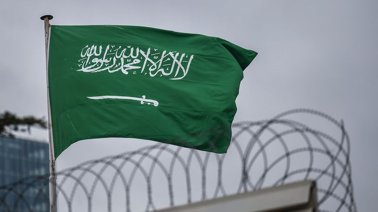 A Saudi Arabia flag flies on the top of their consulate building on January 10, 2019 in Istanbul