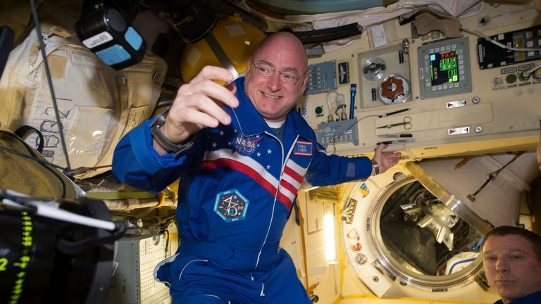 NASA astronaut Scott Kelly is shown with flight engineer Sergey Volkov (R) from the International Space Station in this NASA image released on February 29, 2016. NASA astronaut Scott Kelly, who returns on March 2, 2016 after nearly a year aboard the International Space Station, said on Thursday the secret to enduring the longest U.S. spaceflight is marking individual milestones, not ticking days off the calendar.