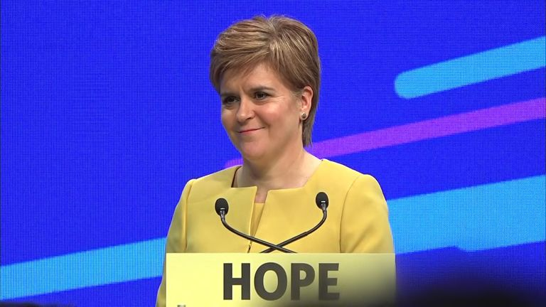 SNP leader and Scottish First Minister Nicola Sturgeon called for a second independence referendum at the SNP party conference