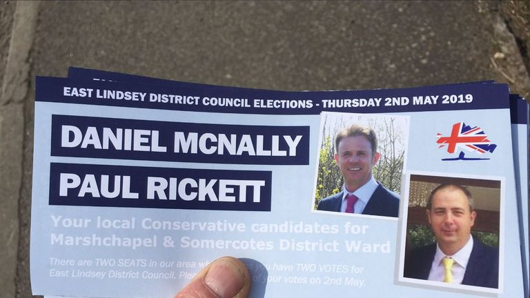 The leaflet promoted Conservative candidates Daniel McNally and Paul Rickett
