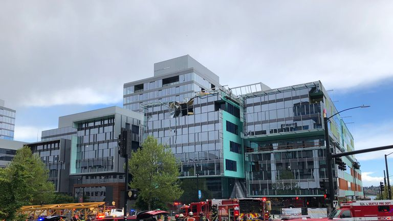Four people have been killed after a crane collapsed on a street. Pic: Seattle Fire Department