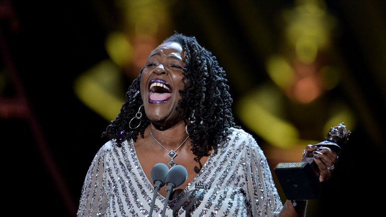 Sharon D. Clarke, winner of the Best Actress in a Musical award for 'Caroline, Or Change', on stage during The Olivier Awards at the Royal Albert Hall on April 07, 2019