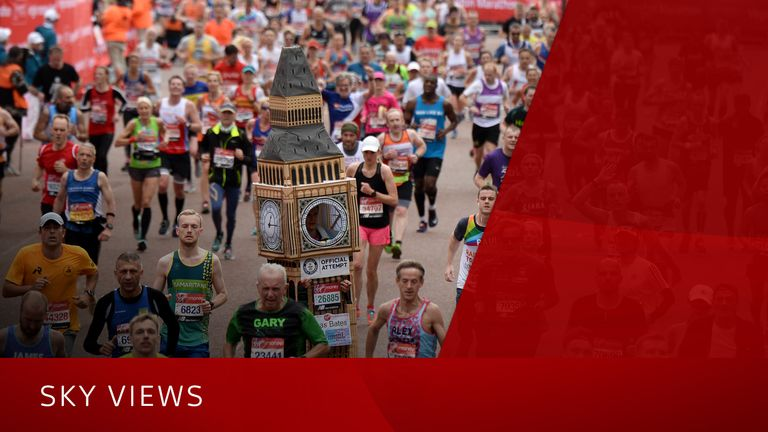 Runners compete during the Virgin London Marathon 2019