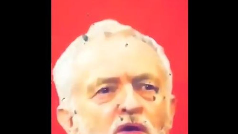 Jeremy Corbyn's face is in the target practice area in the video