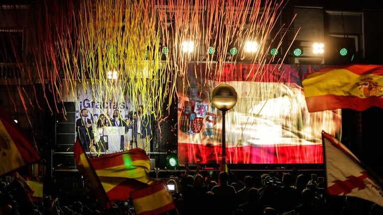 The far-right party Vox held an election night rally in Madrid