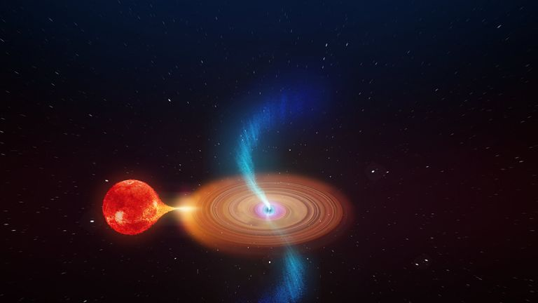 Artist's impression of V404 Cygni seen close up. The binary star system consists of a normal star in orbit with a black hole. Material from the star falls towards the black hole and spirals inwards in an accretion disk, with powerful jets being launched from the inner regions close to the black hole. Credit: ICRAR