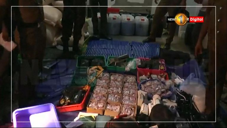 Some of the items found at a suspected bomb factory