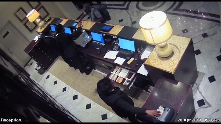 CCTV from Colombo's Kingsbury Hotel showed the suicide bomber entering the hotel and the moment of the blast on Easter Sunday