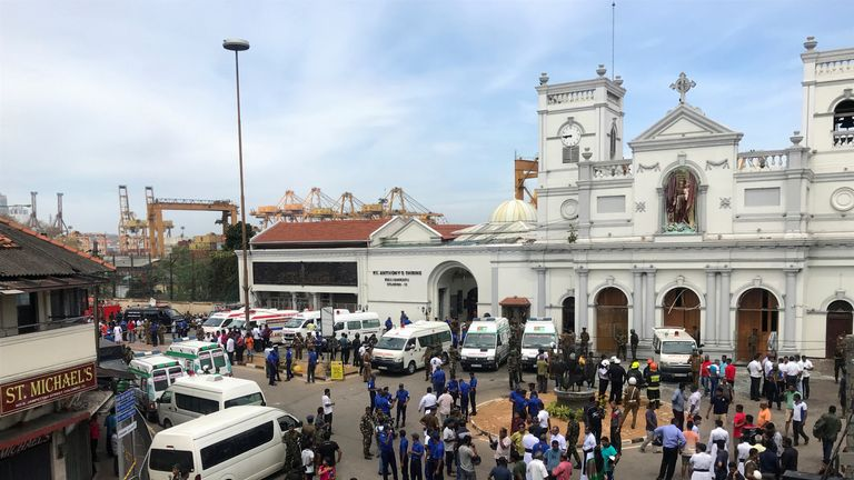 Military officials standing guard outside St. Anthony's Shrine, Kochchikade church after an explosion in Colombo