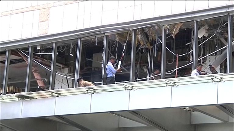 Damage being assessed at the Shangri-La hotel in Colombo