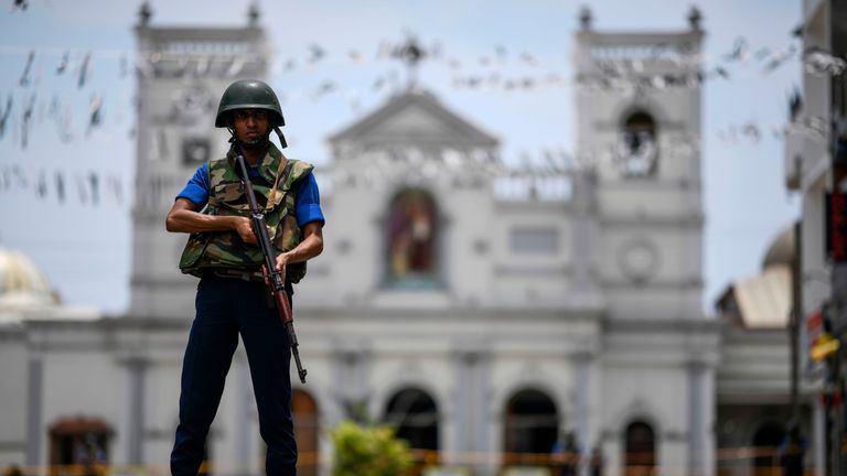 A soldier stands guard outside St. Anthony's Shrine in Colombo