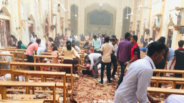 St Sebastian's Church in Negombo was badly damaged. Pic: St Sebastian's Church/Facebook