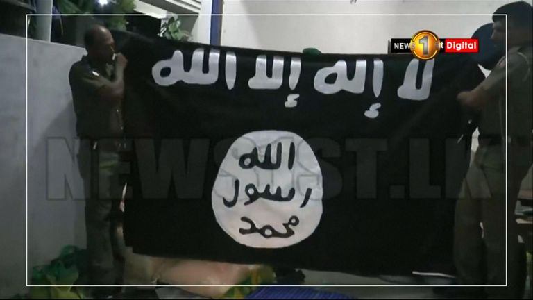 A flag found at a suspected bomb factory