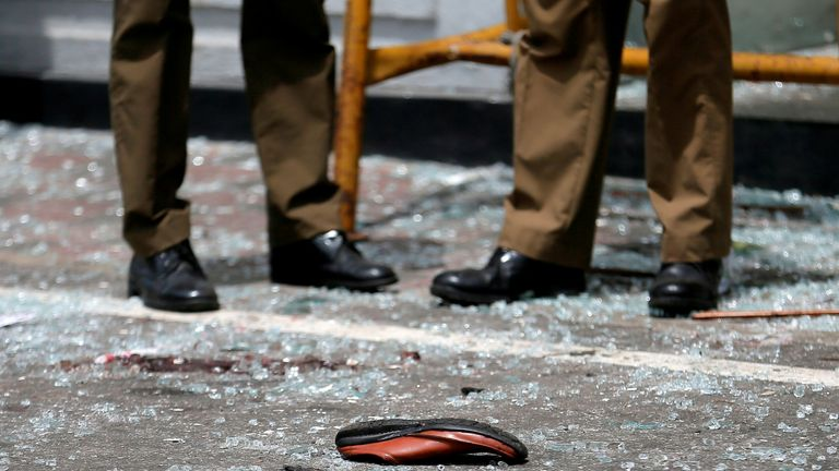 A victim's shoe in front of St Anthony's Shrine in Colombo