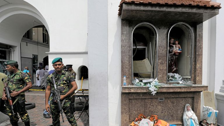 Sri Lankan military officials guard St Anthony's Shrine in Colombo