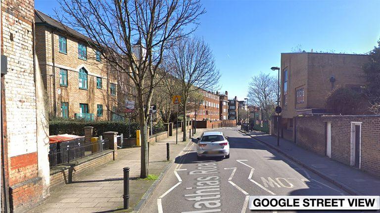 The man was found on Matthias Road in Stoke Newington. Pic: Google Street View